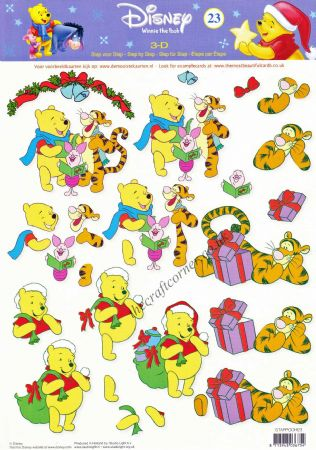 Winnie the Pooh 23 Winnie The Pooh & Friends at Christmas 3d Decoupage Sheet.